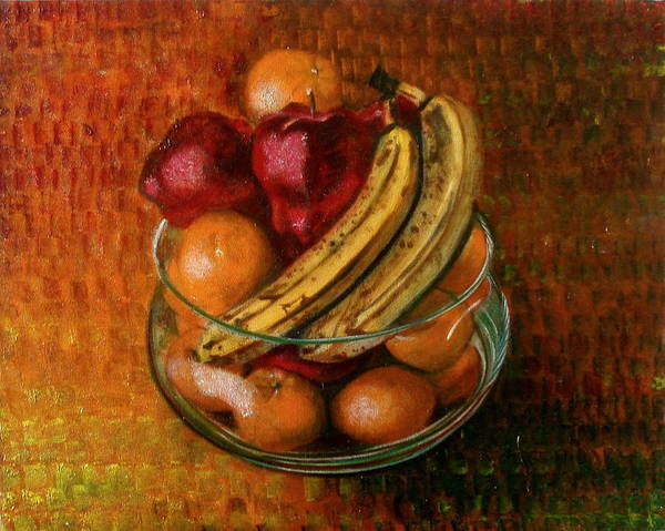 Still Life Poster featuring the painting Glass Bowl Of Fruit by Sean Connolly