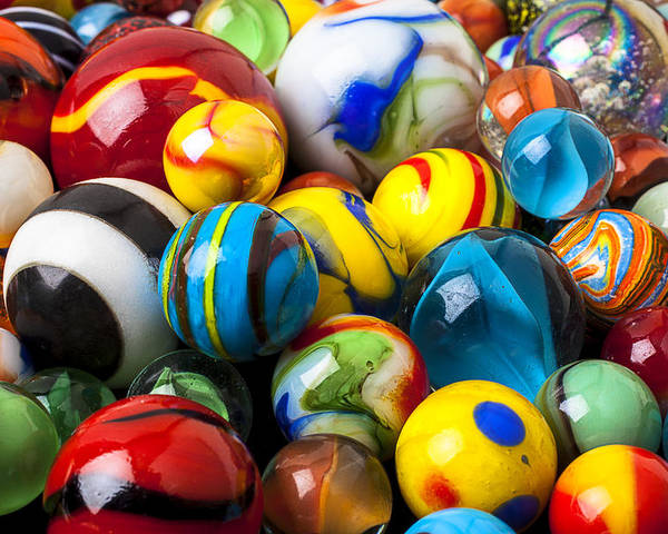 Pile Poster featuring the photograph Glass Marbles by Garry Gay