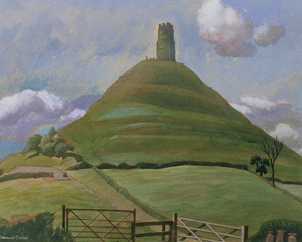 Landscape Poster featuring the drawing Glastonbury Tor by Osmund Caine