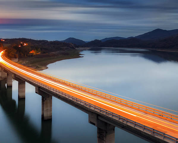 Bulgaria Poster featuring the photograph Glowing Bridge by Evgeni Dinev