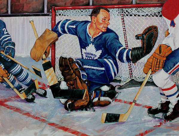 Hockey Poster featuring the painting Goaltender by Derrick Higgins