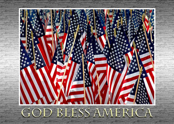 Flag Poster featuring the photograph God Bless America by Carolyn Marshall