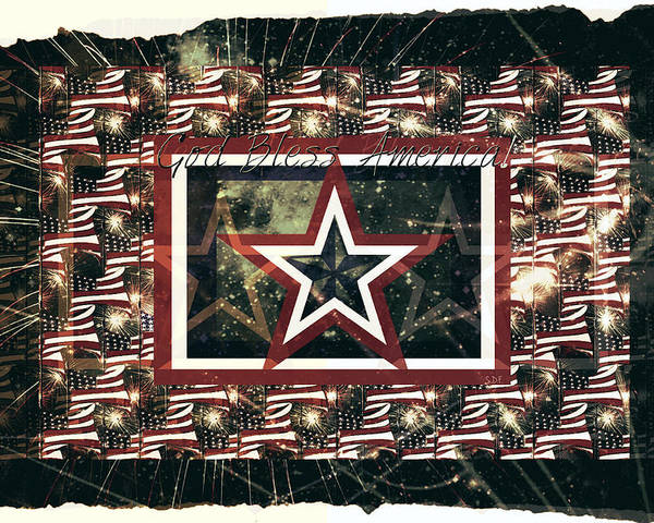 Independence Day; Forth Of July; July 4th; American Holiday; America; Stars; Stripes; Celebration; Celebrate; Fireworks; Freedom; One Nation Under God; God Bless America Poster featuring the drawing God Bless America by Sherry Flaker