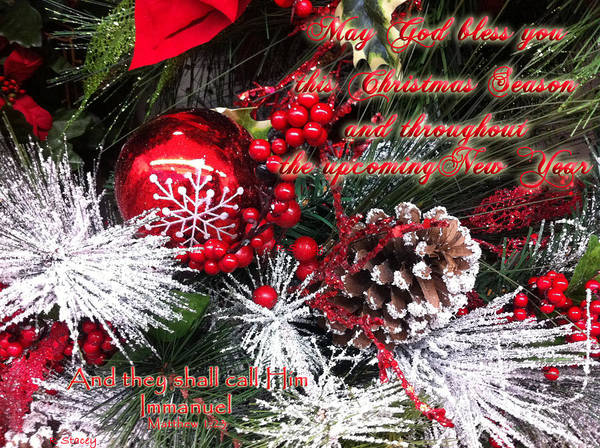 God Bless You Christmas Immanuel Poster by Robyn Stacey