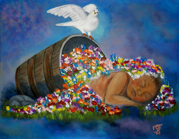 Newborn Poster featuring the painting God Planted A Garden by Pamorama Jones