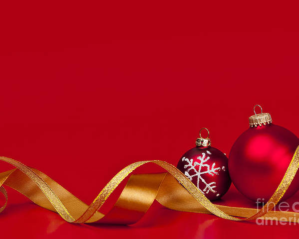 Christmas Poster featuring the photograph Gold And Red Christmas Decorations by Elena Elisseeva
