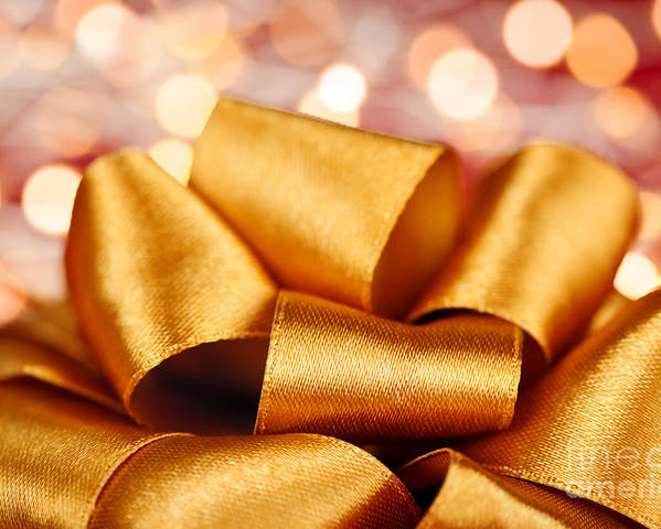 Gift Bow Poster featuring the photograph Gold Gift Bow With Festive Lights by Elena Elisseeva