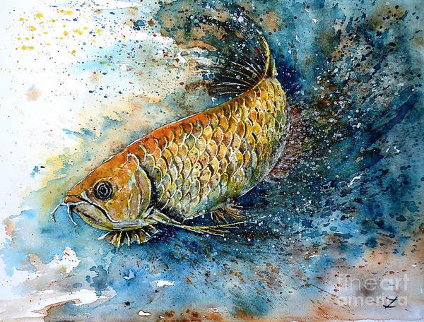 Arowana Poster featuring the painting Golden Arowana by Zaira Dzhaubaeva