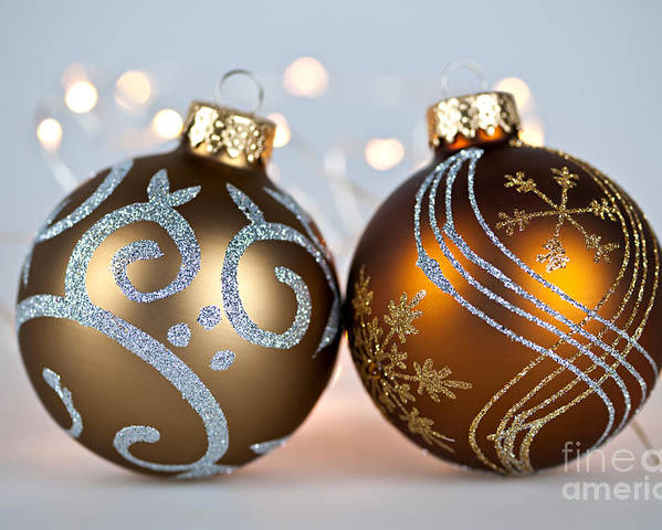 Christmas Poster featuring the photograph Golden Christmas Ornaments by Elena Elisseeva