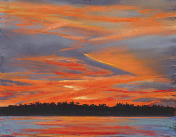Skyscape Painting Poster featuring the painting Golden Contrails by Pamela Heward