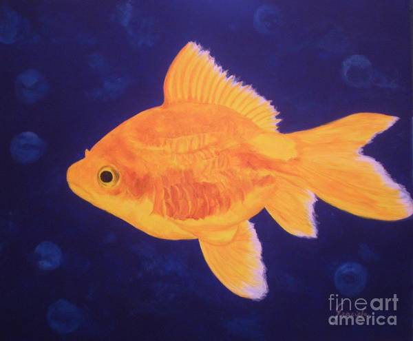Goldfish Poster featuring the painting Golden Fish by Graciela Castro