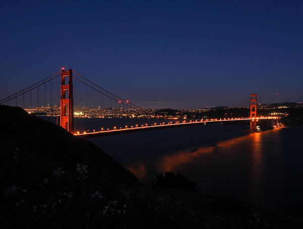 California Poster featuring the photograph Golden Gate At Night by Geoffrey Bolte
