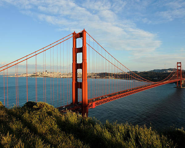 California Poster featuring the photograph Golden Gate At Sunset by Geoffrey Bolte