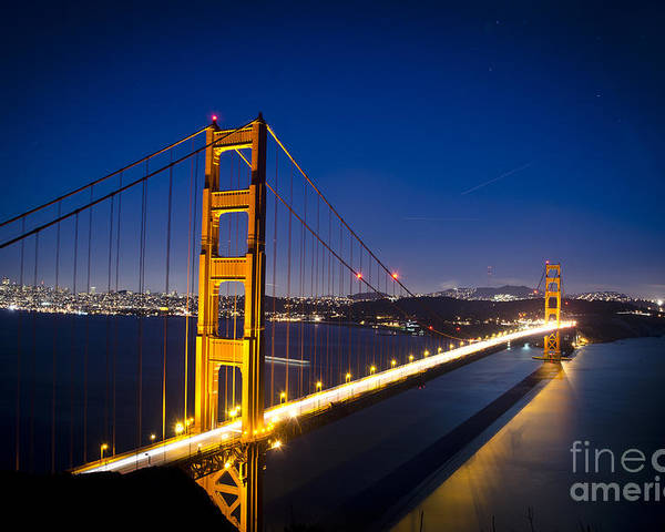 Golden Gate Poster featuring the photograph Golden Gate Bridge At Night by Jim And Emily Bush