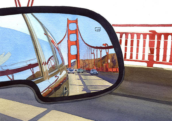 California Poster featuring the painting Golden Gate Bridge In Side View Mirror by Mary Helmreich