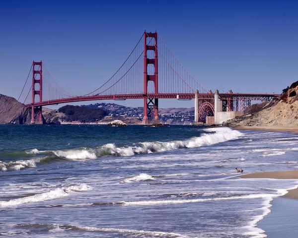 America Poster featuring the photograph Golden Gate Bridge - Seen From Baker Beach by Melanie Viola
