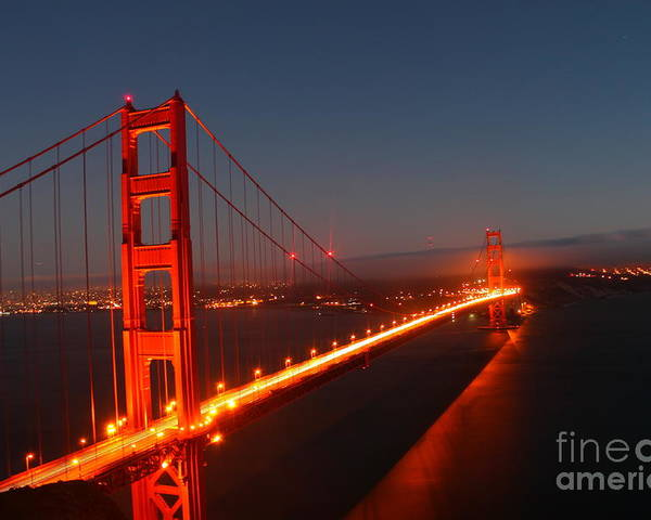 Golden Gate Bridge At Dusk Poster featuring the photograph Golden Gate Bridge by Theresa Ramos-DuVon