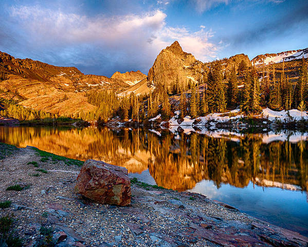 Lake Blanche Poster featuring the photograph Golden Mountain Light by Kevin Rowe