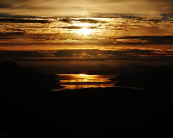 Norway Poster featuring the photograph Golden Norse Fjordland Sunset by David Broome