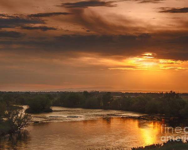 Sunset Poster featuring the photograph Golden Payette River by Robert Bales
