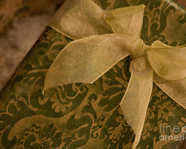 Present; Bow; Ribbon; Vintage; Gold; Green; Christmas; Decoration; Box; Xmas; Gift; Close Up; Celebration; Elegant; Festive; Holiday; Seasonal; Wrapped; Wrapping; Birthday Poster featuring the photograph Golden Present by Margie Hurwich