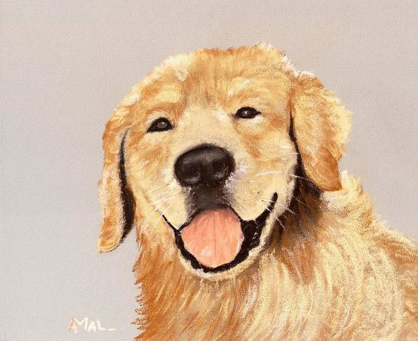 Sheepdog Poster featuring the painting Golden Retriever by Anastasiya Malakhova