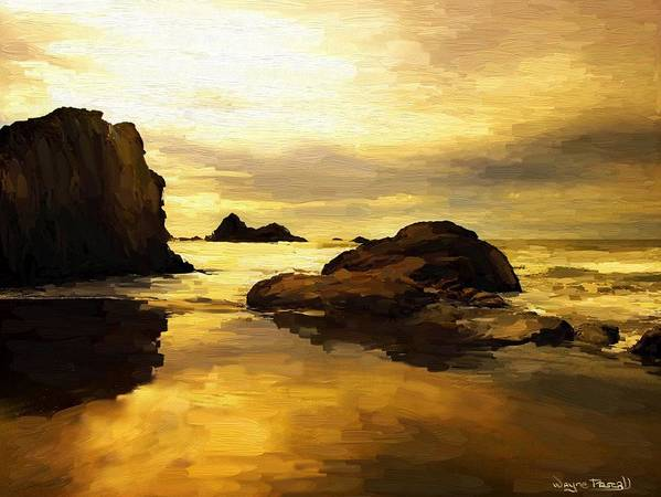 Sunset Poster featuring the painting Golden Sands by Wayne Pascall