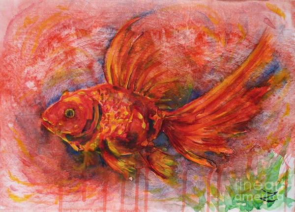 Goldfish Poster featuring the painting Goldfish by Zaira Dzhaubaeva