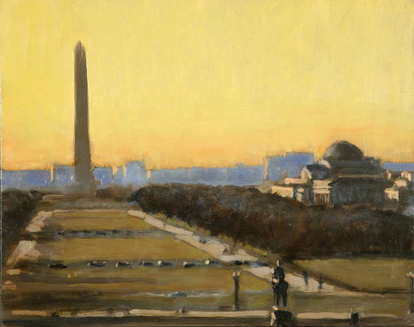 Cityscape Paintings Poster featuring the painting Good Night Mr Washington by David Zimmerman