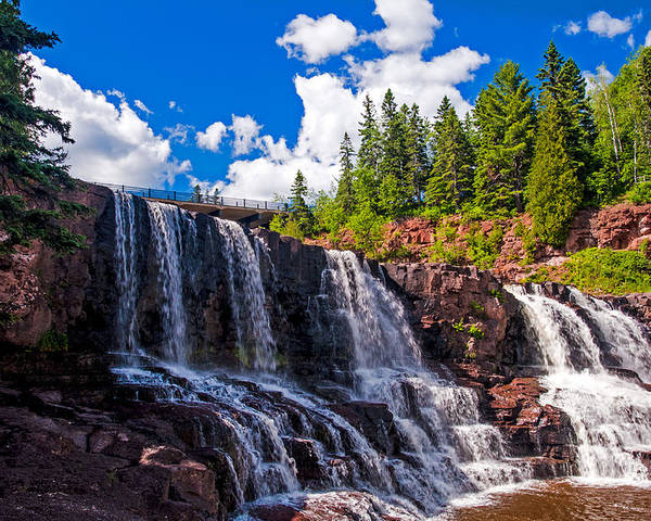 Gooseberry Falls; Waterfall; Water; North Shore Drive; Minnesota Poster featuring the photograph Gooseberry Falls by Lonnie Paulson