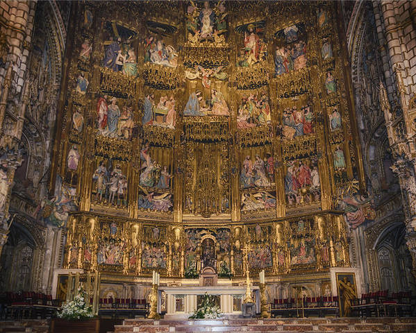 Toledo Poster featuring the photograph Gothic Altar Screen by Joan Carroll