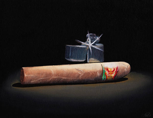 Cigar Poster featuring the painting Gotta Light by Nicko Gutierrez