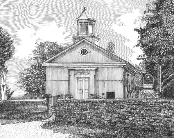 Grace Episcopal Church Poster featuring the drawing Grace Episcopal Church In Yorktown Virginia by Stephany Elsworth