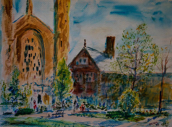 Watercolor Poster featuring the painting Graham Chapel Morning Effect by Horacio Prada
