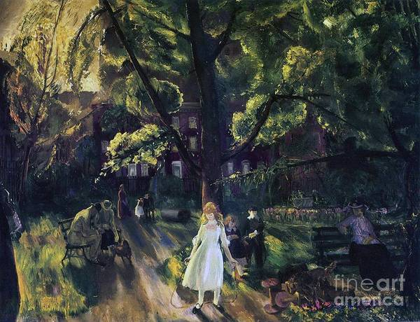 Manhattan; New York; Public Gardens; Bench; Garden; Leisure; Girl; Skipping Rope; Relaxation; C19th; C20th; New York City; Gramercy; Gramercy Park; Neighborhood; Neighborhood Park; New York City Park; Recreation; Park Scene; Stately Home; Jump Rope; Kid; Child; Children; Snapshot; Light; Summer; Summertime; Summer Time; George; Wesley; George Wesley; Bellows; George Wesley Bellows; Oil Paint; Oil Painting; Park Bench; Benches; Relax; Relaxing; Day In The Park; Tree; Trees; White Dress; Frock; Poster featuring the painting Gramercy Park by George Wesley Bellows