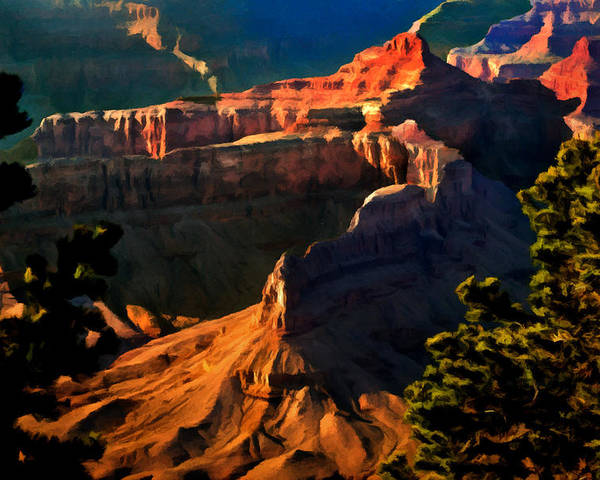 Grand Canyon National Park Poster featuring the painting Grand Canyon At Sunset by Bob and Nadine Johnston