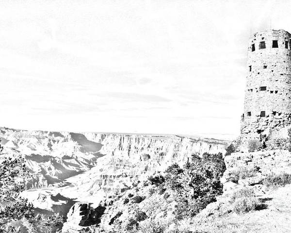 Travelpixpro Grand Canyon Poster featuring the digital art Grand Canyon National Park Mary Colter Designed Desert View Watchtower Black And White Line Art by Shawn O'Brien