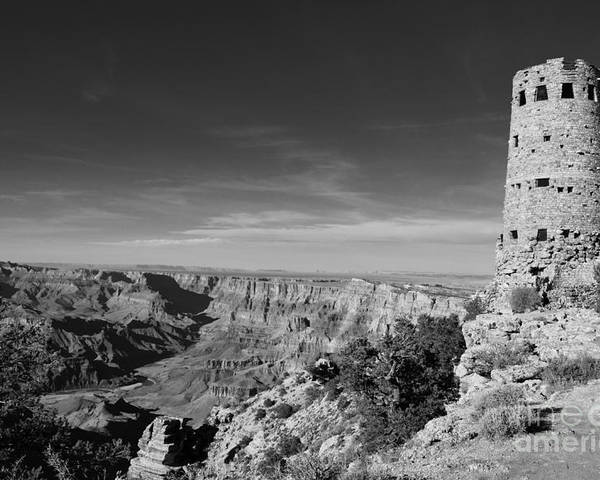 Travelpixpro Grand Canyon Poster featuring the photograph Grand Canyon National Park Mary Colter Designed Desert View Watchtower Near Sunset Black And White by Shawn O'Brien