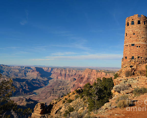 Travelpixpro Grand Canyon Poster featuring the photograph Grand Canyon National Park Mary Colter Designed Desert View Watchtower Near Sunset by Shawn O'Brien