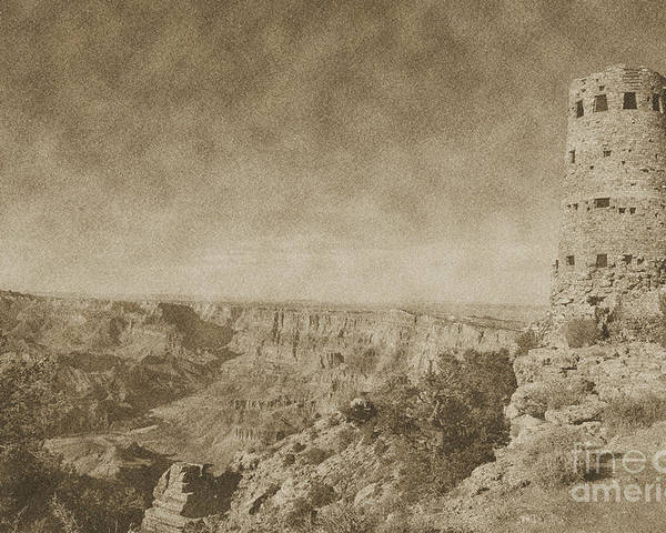 Travelpixpro Grand Canyon Poster featuring the photograph Grand Canyon National Park Mary Colter Designed Desert View Watchtower Vintage by Shawn O'Brien