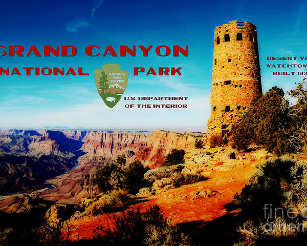 Travelpixpro Grand Canyon Poster featuring the digital art Grand Canyon National Park Poster Desert View Watchtower Retro Future by Shawn O'Brien