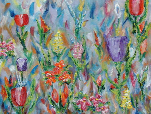 Landscape Poster featuring the painting Grandma's Garden by SheRok Williams