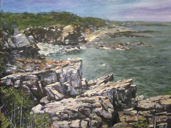 Seascape Poster featuring the painting Granite Cliffs Along Marginal Bay Ogunquit Maine by Victor SOTO