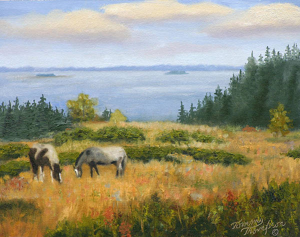 Landscape Poster featuring the painting Grazing With A View by Tommy Thompson