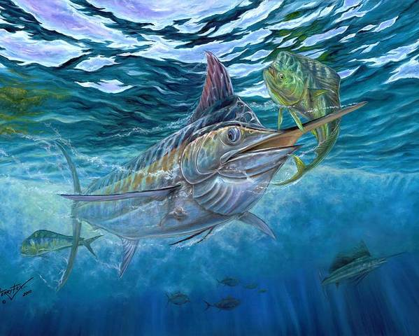 Blue Marlin Poster featuring the painting Great Blue And Mahi Mahi Underwater by Terry Fox