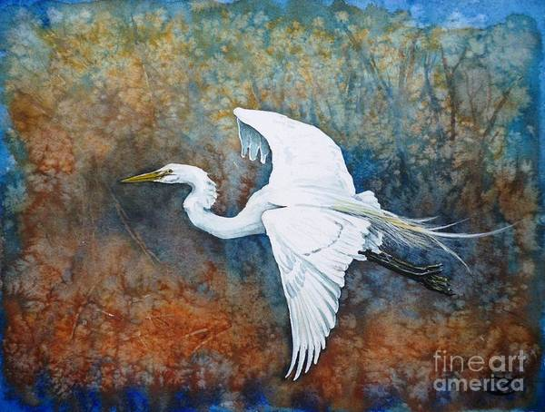 Great Egret Poster featuring the painting Great Egret by Zaira Dzhaubaeva