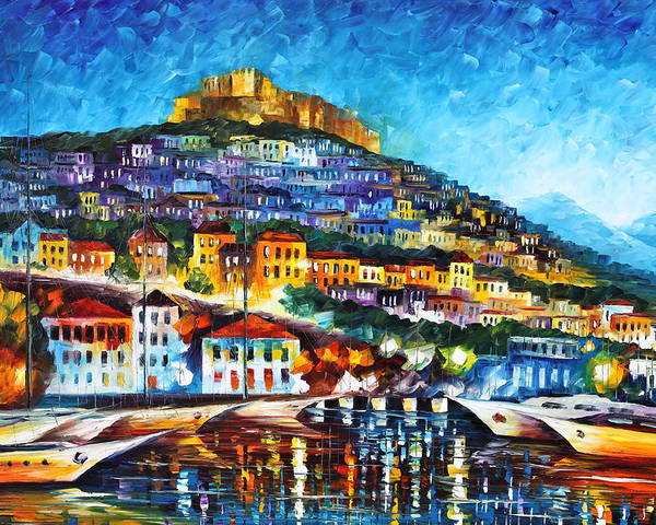 Town Poster featuring the painting Greece Lesbos Island 2 by Leonid Afremov