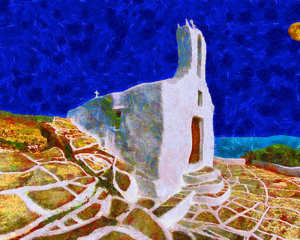 Rossidis Poster featuring the painting Greek Church 5 by George Rossidis