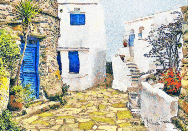 Rossidis Poster featuring the painting Greek Village 8 by George Rossidis