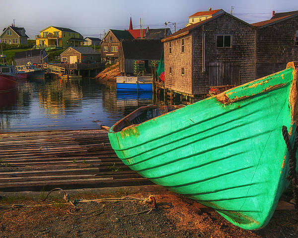 Green Poster featuring the photograph Green Boat Peggys Cove by Garry Gay